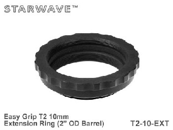"10mm T2 Thread Spacer Extension Ring 2"" OD Barrel - Easy Grip"