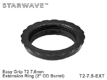 "7.5mm T2 Thread Spacer Extension Ring 2"" OD Barrel - Easy Grip"